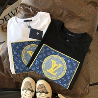 LV Louis Vuitton new embroidery classic logo pure cotton T shirt men and women fashion casual short-sleeved shirt Black