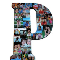 "18"" Wooden Letter Photo Collage or Number Collage Anniversary Engagement Birthday Bridal Shower Best friend Gift Senior Night Graduation P"