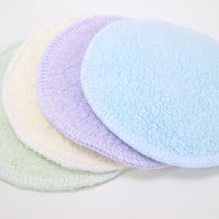 Six Round Facial Wipes - Reusable Washable Face Poufs - Sherpa Makeup Removal Pads - Sherpa Cotton 2 Ply Facial Round Wipes