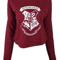 Harry Potter Hogwarts Logo Draco Dormiens Nunquam Titillandus print crop top shirt womens ladies crop sweat
