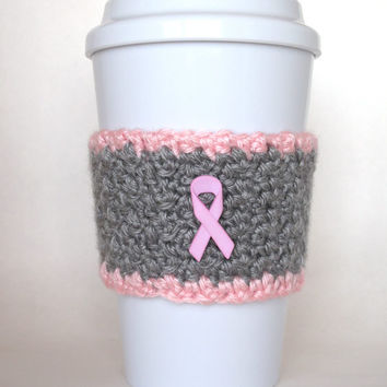 Crochet Coffee Cup Cozy Breast Cancer Awareness