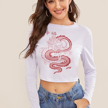 Dragon & Letter Print Crop Tee