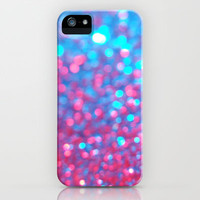 Blue Pink Sparkle Blur iPhone Case by RexLambo