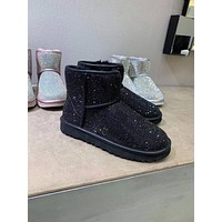 UGG  Trending Women's men Black Leather Side Zip Lace-up Ankle Boots Shoes High Boots