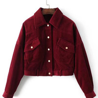 Flap Pocket Corduroy Western Jacket -SheIn(Sheinside)