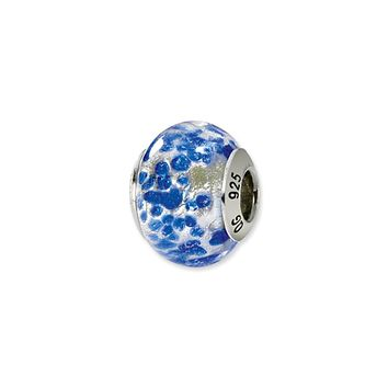 Sterling Silver, Sterling Silver and Blue Spotted Murano Glass Charm