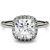 Forever One Cushion Cut Moissanite Halo Engagement Ring