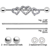 Clear Gem Trio Heart Adjustable Interchangeable Industrial Barbell Set | Body Candy Body Jewelry