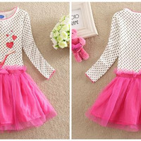 Children Clothes Ice and Snow Children Clothes Ice and Snow Character Printing and Polk Dots Hot Kids Sweet Cotton and Net Yarn Skirt