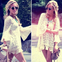 Hot Vintage Hippie Boho Bell Sleeves Gypsy Festival Fringe Lace Mini Dress Tops Blouse VVF (Size: L, Color: Beige) = 4904726980