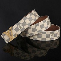 Louis Vuitton LV Woman Men Fashion Smooth Buckle Belt Leather Belt Skin Belts White