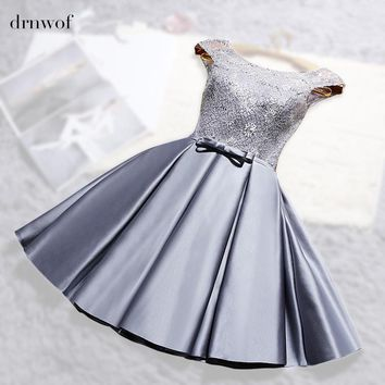 2017 New O-neck Lace Satin Short Womens Ball Gown Bridesmaid Dresses Off the Shoulder Double shoulder Wedding Party Prom Dress