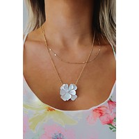 Bring Me Flowers Necklace: White/Gold