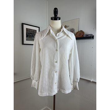 Vintage White Western Poly Blouse (S/M)