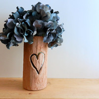 Faux Bois Vase with carved heart / Made-to-order / Tree inspired Home Decor / Nature Art / handcrafted vase