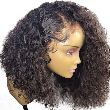 Brazilian Curly 360 Lace Frontal Wig Pre Plucked With Baby Hair 180% Density Short Human Hair Bob