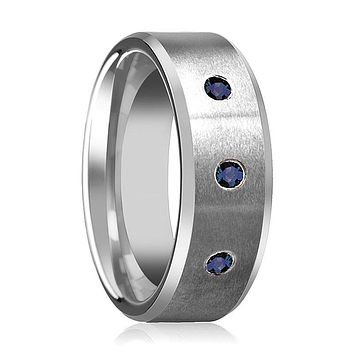 JOSIAH Satin Finish Men's Tungsten Wedding Band with 3 Blue Sapphires in Center and Bevels - 8MM