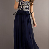 Navy Blue Strapless Sweetheart Beads Bodice Prom Dress Chiffon Prom Gown Cheap Evening Dress Formal Gown