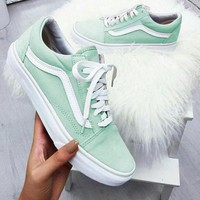 """Vans""Old School Casual Shoes Men and women Pink cloth shoes Mint green"