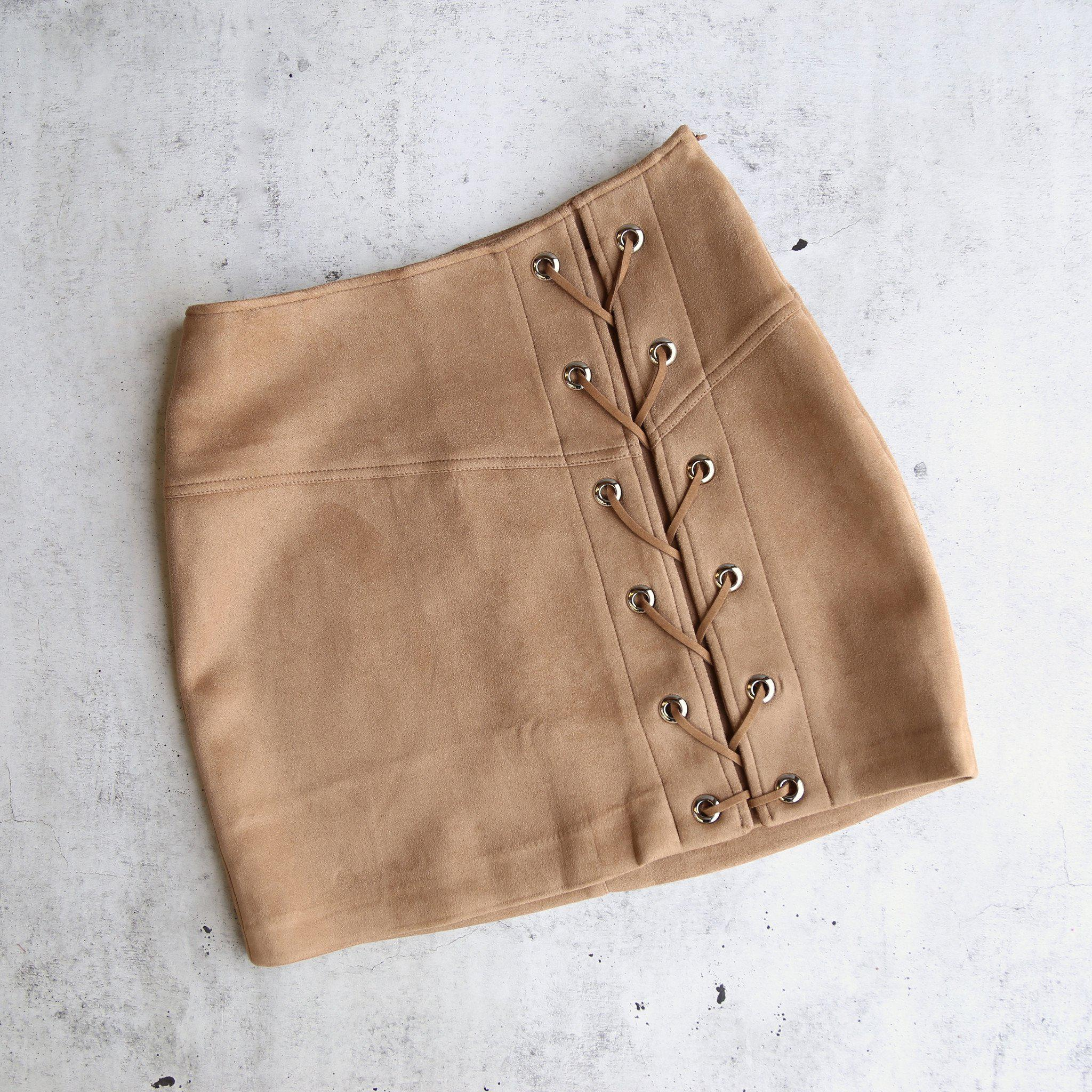 """Image of city nights lace-up """"suede"""" skirt - more colors"""