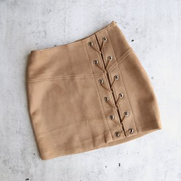"""city nights lace-up """"suede"""" skirt - more colors"""