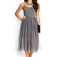 LOVE 21 Knit & Tulle Cami Dress Charcoal