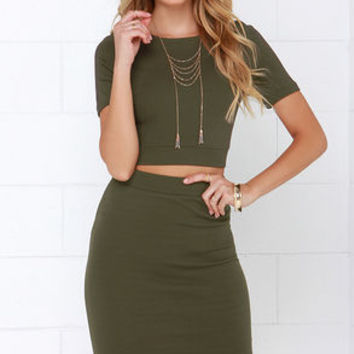 Clean Cut-Out Olive Green Two-Piece Dress