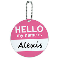 Alexis Hello My Name Is Round ID Card Luggage Tag