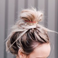 Golden Coins Bun Wrap - Red