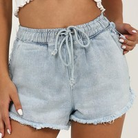 Cut The Tension Denim Shorts In Light Wash Produced By SHOWPO