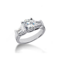 2 ct. round & baguette diamonds ring 3 stone style