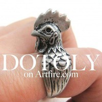 Chicken Hen Rooster Shaped Adjustable Animal Wrap Around Ring in Silver
