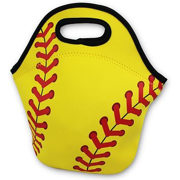 Softball Zipper Cooler Lunch Bag Insulated Gifts Washable Neoprene Travel Beach Sports Girls Camp