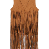 Brown V-Neck Tassel Waist Coat