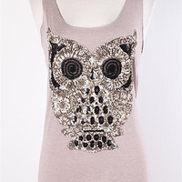 Hoo Do You Think You Are Tank TAUPE (Pre-Order)