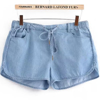 Blue Elastic Waist Denim Jogger Shorts