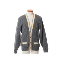 Vintage 50s 60s Catalina Tri-Color Wool Cardigan Sweater 1950s 1960s Rockabilly Rat Pack Ricky Hipster Wool Knit Preppy Jacket / Mens L