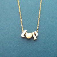 Personalized, Lower case letter + Mini heart + Lower case letter, Gold, Silver, Necklace, Birthday, Best friends, Valentine, Gift, Jewelry