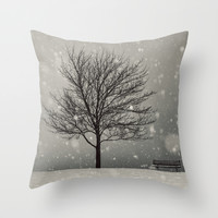 January Snow Throw Pillow by Shaun Lowe