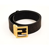 Original Fendi Buckle Monogram Leather Brown Men Belt runs 100