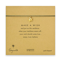 make a wish sea turtle necklace on evergreen, gold dipped