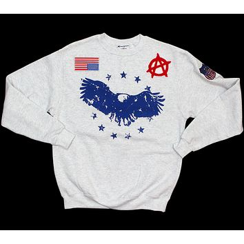 Champion Crew Neck Pullover Sweat Shirt - Champion x American Anarchy Brand - Blue Logo