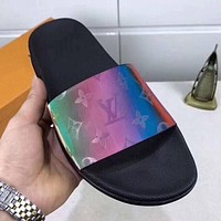 LV Louis Vuitton new ladies slippers fashion colorful sandals leather beach shoes one-word slippers sandals Shoes