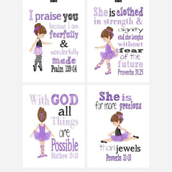Ballerina Christian Nursery Decor Set of 4 Prints in Lavender Purple