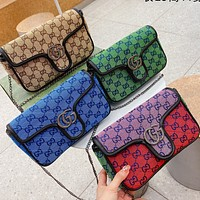 GUCCI GG Canvas Embroidered Letter Flap Crossbody Bag Chain Crossbody Bag-4