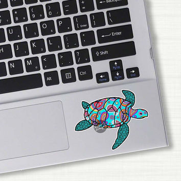 Small Blue Paisley Sea Turtle Decal - Colorful Pattern Beach Bumper Sticker Car Decal Laptop Decal Vinyl Teal Turquoise Pink Green