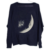 Moon Cats Raglan Select Size by BurgerAndFriends on Etsy