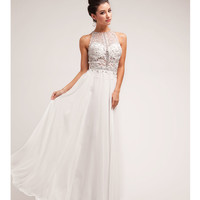 (PRE-ORDER) 2014 Prom Dresses - Off White Beaded Lace & Chiffon Halter Gown