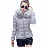 2017 New Womens Parkas Winter Jackets And Coats Thick Warm Faux Fur Collar Hooded Anorak Ladies Jacket Female Manteau
