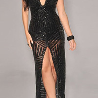 Black Sequined Halter Front Slit Maxi Dress